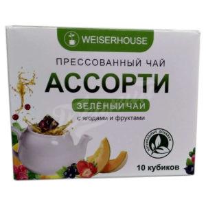 Пресованный зелёный  чай, в кубиках, ягодное ассорти